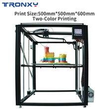 TRONXY impresora 3D grande con pantalla táctil, 2 en 1, extrusora de doble Color, tamaño grande, 500x500x600mm, X5SA 500 2E