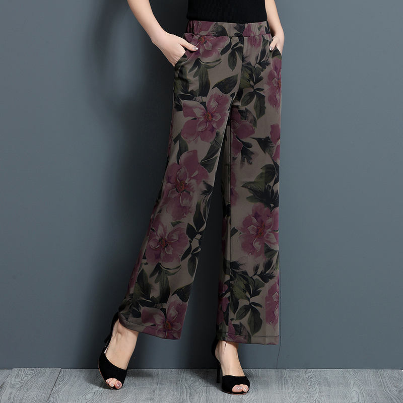 Woman   Pants   Bohemian Print High Waist Women   Wide     Leg     Pants   Loose Cute Bottoms Elastic Waist Femme   Pant   Female Trousers Plus Size