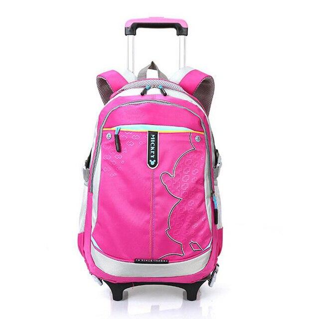 2016 Korean Version Preppy Trolley School Bag Girls High Quality Canvas Waterproof wheeled Backpack Removable School Backpack