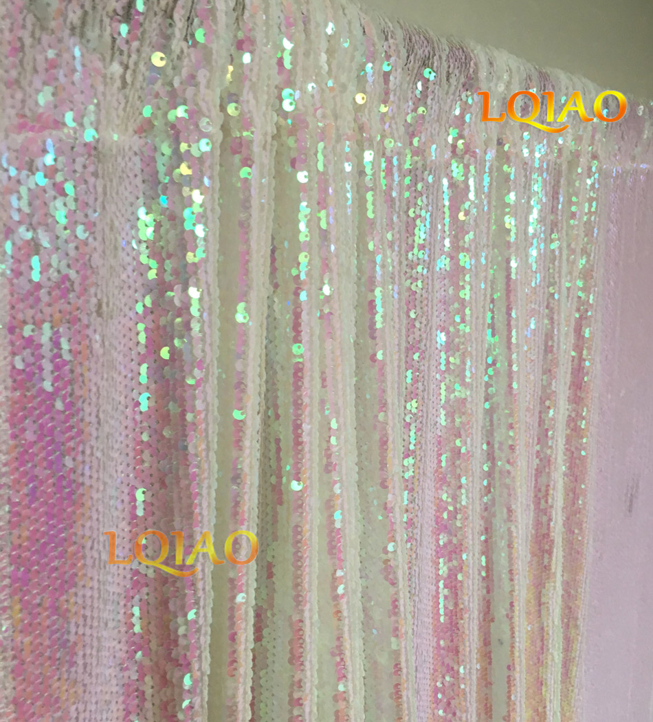 LQIAO Reversible Iridescent White Sequin Backdrop Curtain 4x6ft Mermaid Fish Scale Sequin Photography for Wedding Decoration