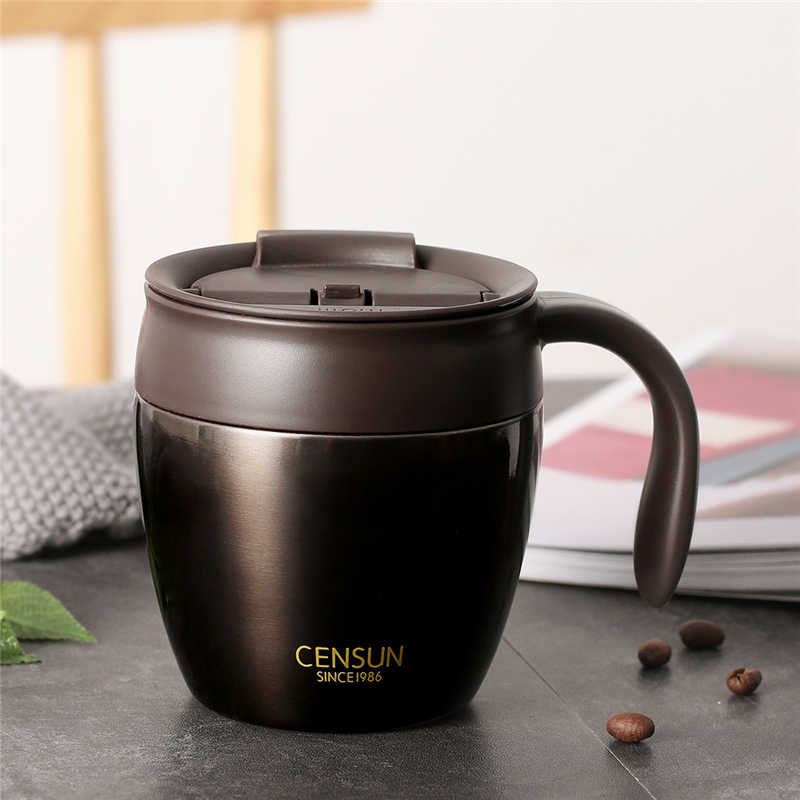 320ml Stainless Steel Coffee Mugs Thermos Insulation Water Bottle Cups Drinkware With Handle Lid Travel Tea Mug for Office