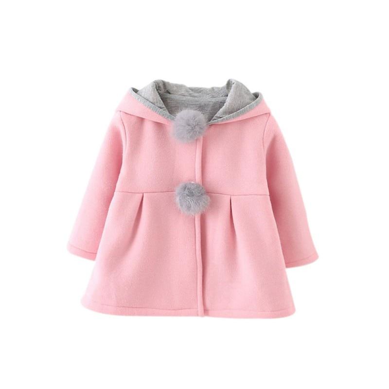 2017 invierno primavera bebé Niñas manga larga chaqueta de la capa del oído de conejo con capucha prendas de vestir exteriores ocasional