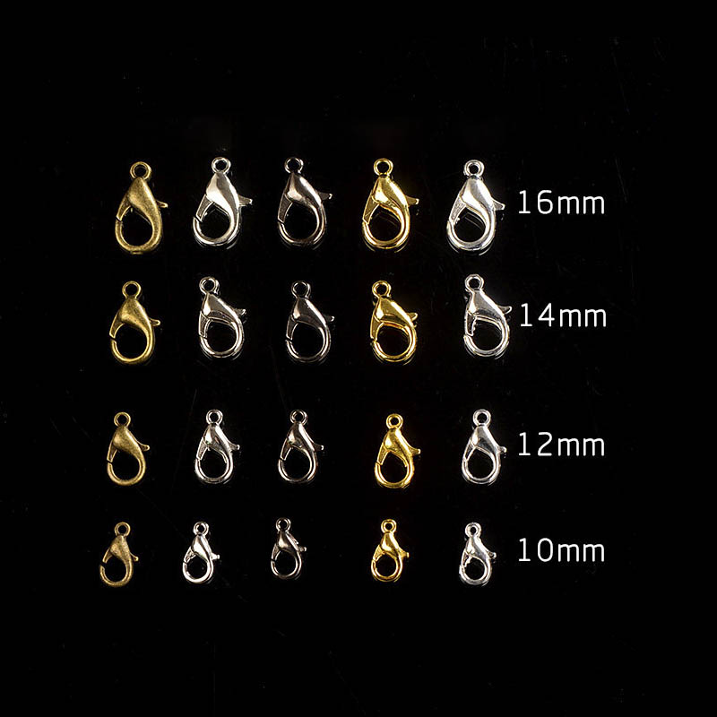 50pcs 10/12/14/16mm Silver Gunblack Gold Lobster Clasps For Jewelry Making Necklace Closure Connector DIY Bracelet End Hooks