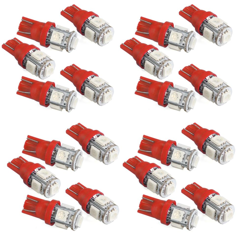 20 Pcs T10 W5w Red 5050 Smd 5 Led Car Side Wedge Light Bulb Lampu Bohlam Philips W 5w Watt 5watt 12 V
