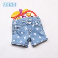 SHUZHI New Arrival Baby Girls Jeans Fashion Summer Style Denim Shorts Girls Sunflower Shorts Kids Denim