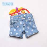 SHUZHI New Arrival Baby Girls Jeans Fashion Summer Style Denim Shorts Girls Sunflower Shorts Kids Denim