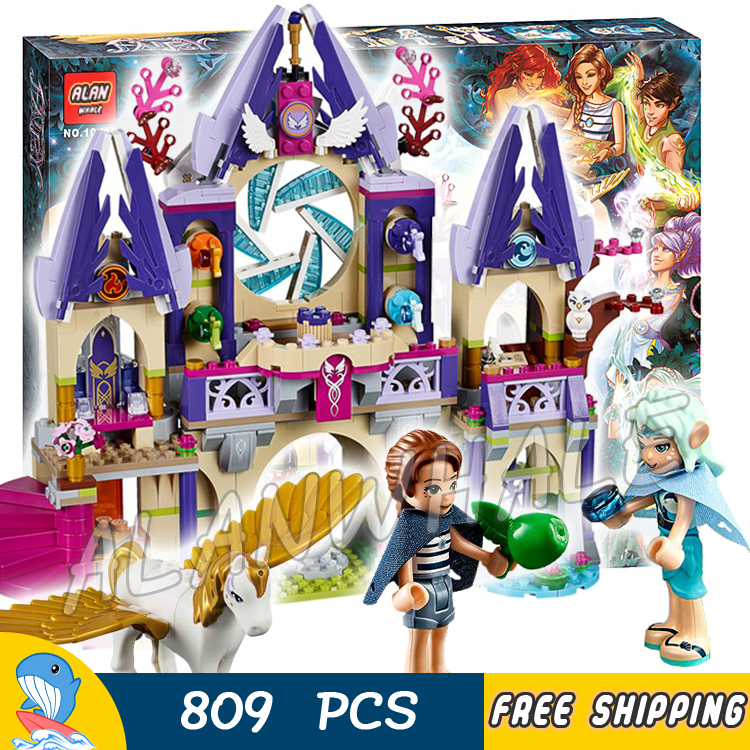 809pcs New Bela 10415 Skyra's Mysterious Sky Castle Model Building Blocks Naida Fairy pegasi Pegasus Compatible With Lego Elves aiboully 10415 elves azari aira naida emily jones sky castle fortress mini building block kids bricks toys 41078