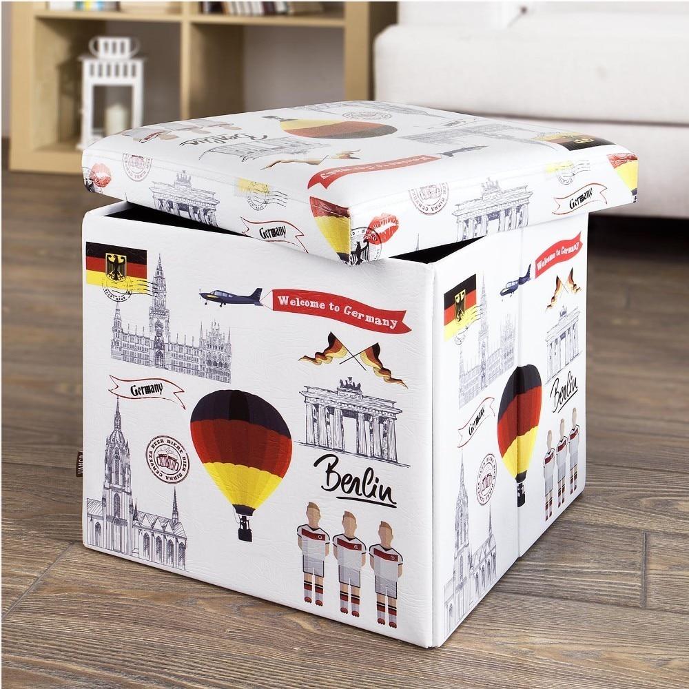 SoBuy FSS41-K-DE,  Storage Ottoman Footstool, Folding Seat Box with Seat Cushion, Germany PatternSoBuy FSS41-K-DE,  Storage Ottoman Footstool, Folding Seat Box with Seat Cushion, Germany Pattern