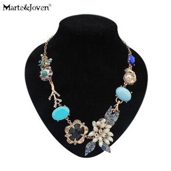 9e3285925f265 Marte   Joven Bohemia verano estilo Collar declaración flor Collar  romántico del Color azul del Collar del Rhinestone de las mujeres