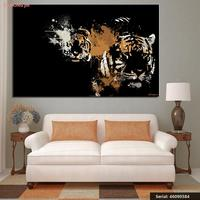2 Tigers Animal Abstract Oil Painting Drawing Art Spray Unframed Canvas Action Miniature Wall Scarf Iron