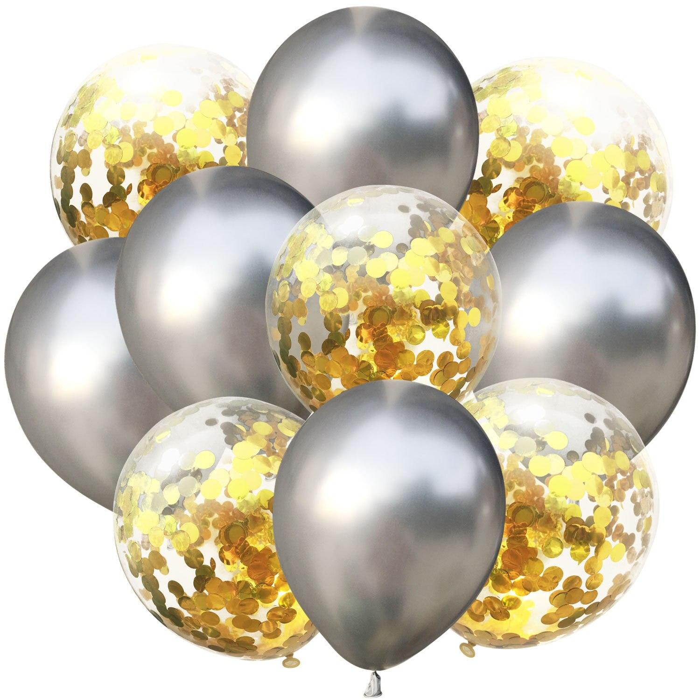 10 шт./лот, 12 дюймов, 5 шт., металлический цвет+ 5 шт., конфетти, латексные шары, для детей, для дня рождения, украшения, шары, мультяшная шляпа, игрушка - Цвет: silver gold