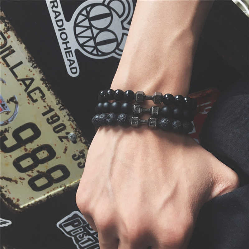 Mcllroy Men Bracelet Black Matte Beads Bracelets For Women Man Natural Volcanic Lava Stone Bracelet Fitness Barbell Jewelry 2019
