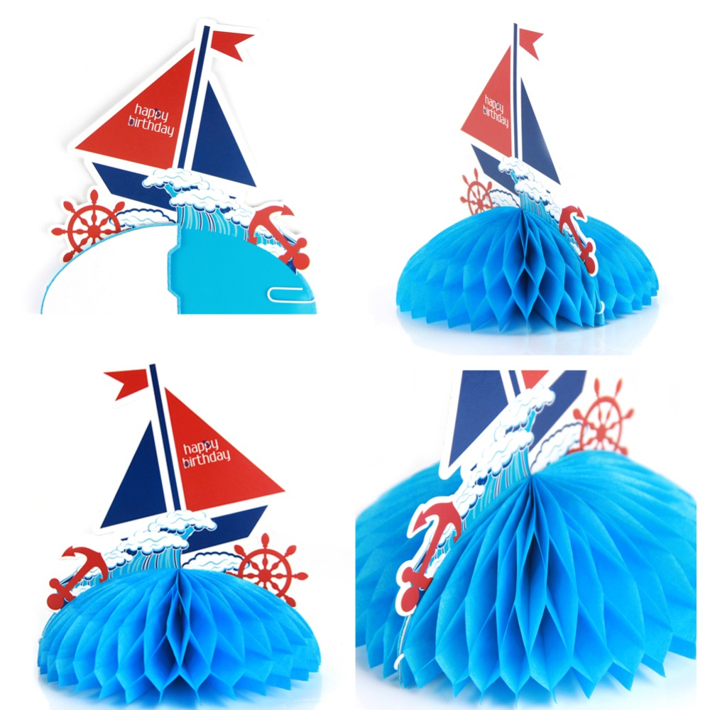 Nautical Sailboat Table Decoration Honeycomb Sailing for Party Baby Birthday