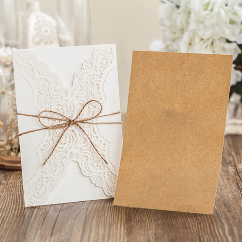 (10 pieces/lot) Laser Cut Lace Invitation Card With Hemp Rope Birthday Invitations With Kraft Paper And Kraft Envelopes PK14113