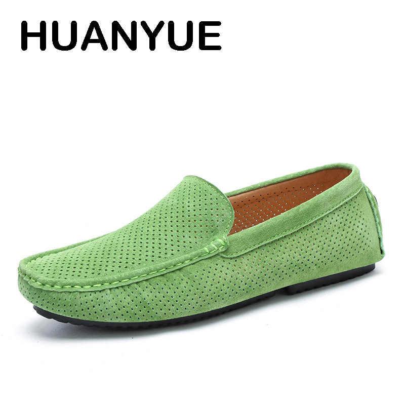 Yeni Orijinal deri erkek ayakkabısı Süet Deri erkek mokasen ayakkabıları Sip-on Hollow Yaz gündelik erkek ayakkabısı Moccasins sürüş ayakkabısı Erkekler Için