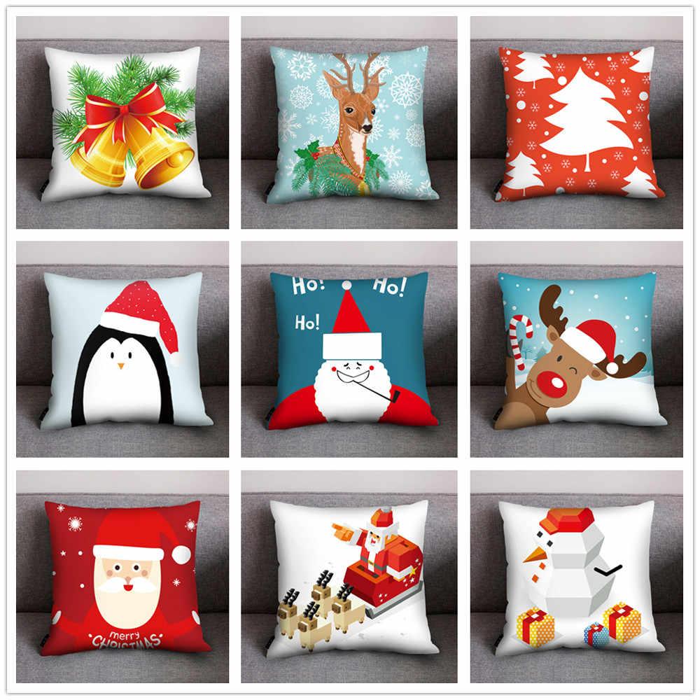 Impresso Cobre Sinos de Natal do Boneco de Neve decorações DIY Caso de Impressão Travesseiro Poliéster Sofá Carro Capa de Almofada Home Decor USPS