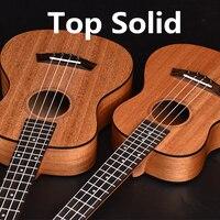 Akustik Elektrik Ukulele Üst Katı Konseri Tenor 23 26 Inç Hawaii Gitar Ukelele Maun 4 Strings Ukenin Guitarra Siyah Kenarı