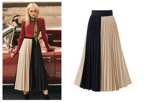 MNOGCC Pleated-Skirt Chiffon Fashion The Colorblock Splicing Folding Latest-Design
