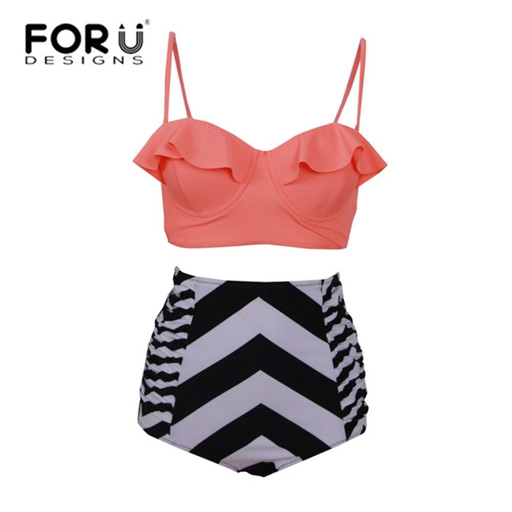 FORUDESIGNS Bikinis me bel të lartë, Femra rroba banje Plus - Veshje sportive dhe aksesorë sportive