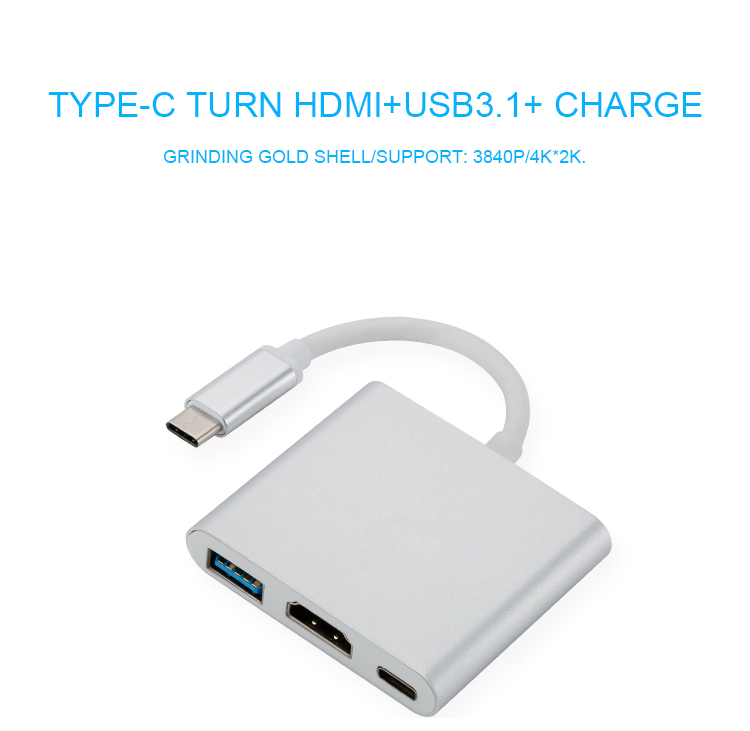 1 3-in-1 Aluminum USB 3.1 Type C to 4K2K HDMI USB 3.0 TypeC Adapter Type-C Adapter Converter Cable for Apple Macbook and Google