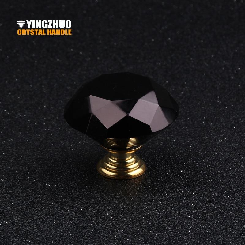2017 5pcs 40mm Luxury Black Crystal Diamond Glass Knob Furniture  Accessories Kitchen Hardware Drawer Cabinet Door