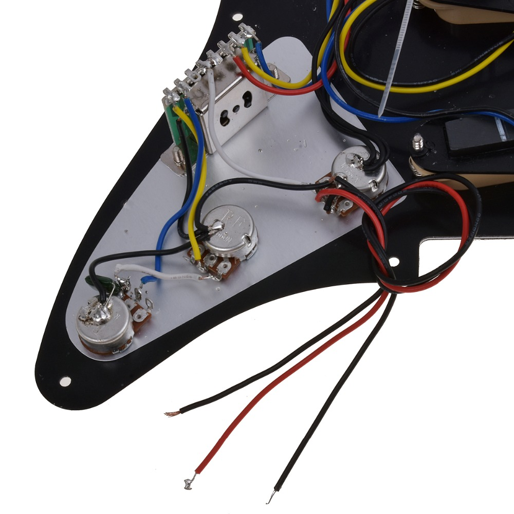 Kmise Electric Guitar Loaded Pickguard Scratch Plate for Fender Strat Parts 3 Ply SSS Black in Guitar Parts Accessories from Sports Entertainment