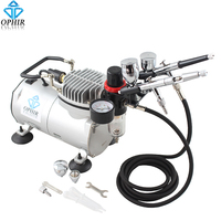 OPHIR 0.3mm Air Brush & 0.5mm Dual Action Airbrush Kit with Air Compressor for Nail Art Body Paint Temporary Tattoo_AC089+004006