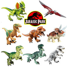 For legoing Jurassic Dinosaurs park Pterosauria Triceratops Indomirus T-Rex World set Bricks Models Building Blocks Toys Figures(China)