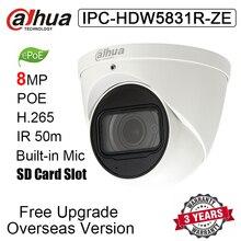 Dahua IPC-HDW5831R-ZE 8MP POE H.265 IP67 IR 50m купольная IP камера IPC-HDW5831R-ZE сетевая камера с логотипом