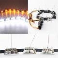 4X (2 компл.) DRL 12 В 5050-12SMD + 3528-36SMD Белый/Янтарный Горки Дневного Вождения Лампы Водонепроницаемый гибкий Свет Прокладки
