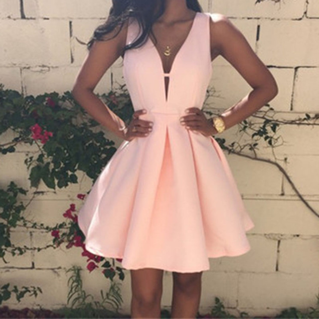 2016 New Fashion Women Sexy Deep V-neck Backless Dress Casual Slim Tunic Sleeveless Mini Pink Party Dresses Plus size