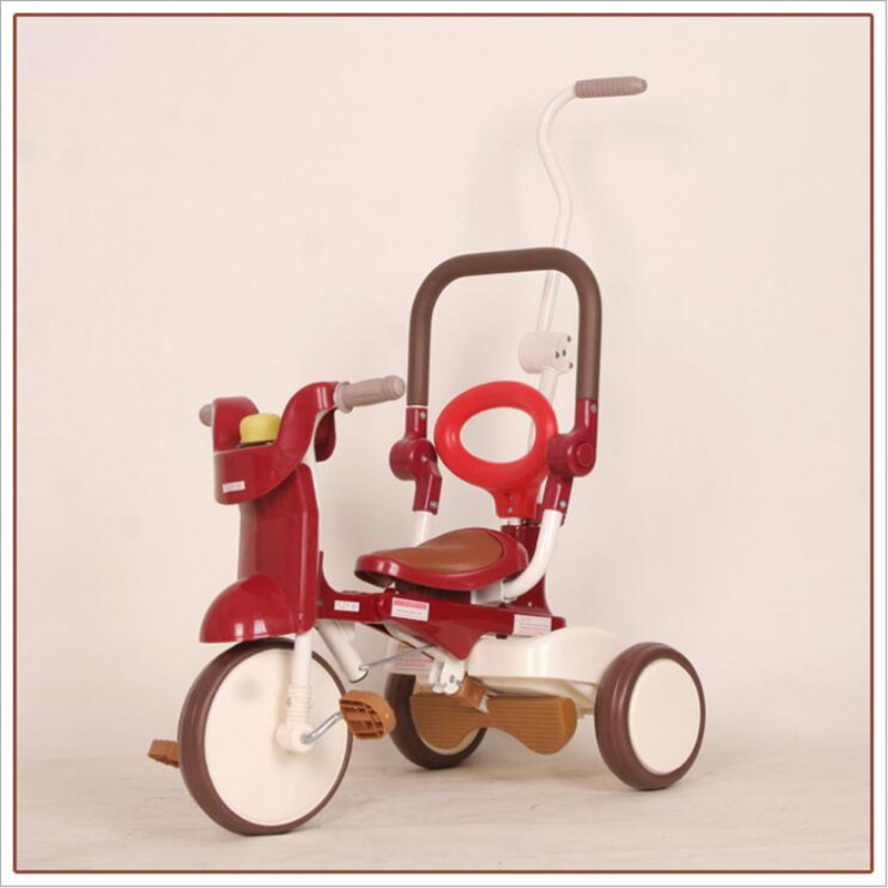 Foldable Tricycle Children's Trolley Bicycle One Button Folding with Brake Compact Lightweight Baby Bike 2 3 Years Old Kids Toys