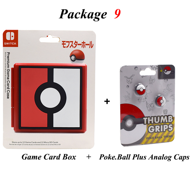 Nintend Switch NS Accessories Portable Game Cards Storage Case & 2 Poke Ball Plus Thumb Grips Caps for Nintendo Switch Game  1
