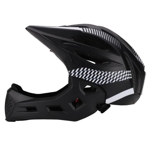 Crianças led rosto cheio mountain bike capacete equilíbrio bicicleta esportes segurança crianças completa coberto capacetes downhill scooter bmx criança 46-53cm 3