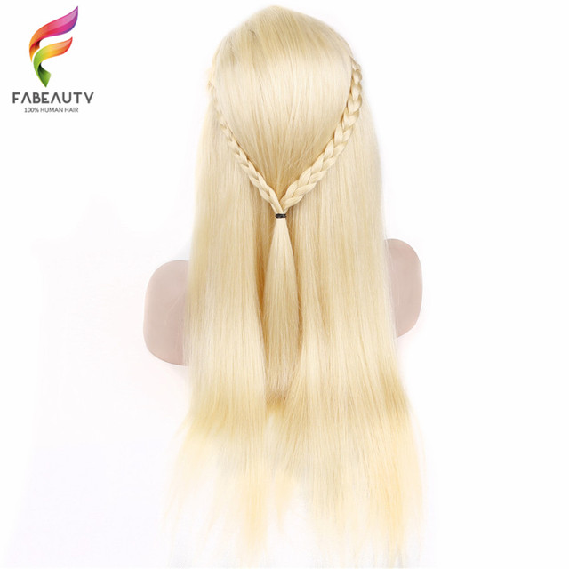 #613 Blonde Full Lace Wig Pre Plucked With Baby Hair Straight Brazilian Blonde Full Lace Human Hair Remy Wigs 8-26 Inch Long Wig 3