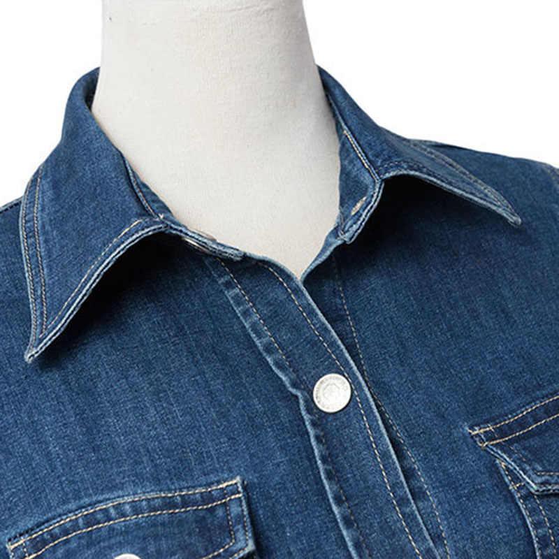 2019 Новый высокое качество Для женщин с длинным рукавом свободное вязанное повседневное джинсовое платье мини-платье Для женщин осень Ковбойская одежда Vestidos A130
