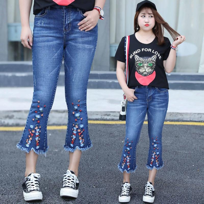 2019 New Arrival Flare Pants For Women Embroidery Blue Ankle-Length Pants Cotton Plus Size Xl-4xl Fashion Vintage Jeans Woman