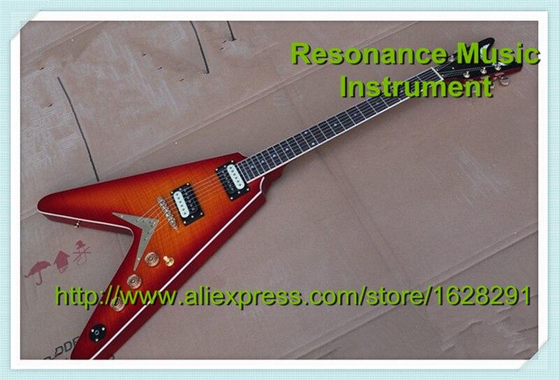 цена на Top Selling Cherry Sunburst Flying V Electric Guitar Classical Golden Hardware China OEM Guitar Left Handed Avaialble