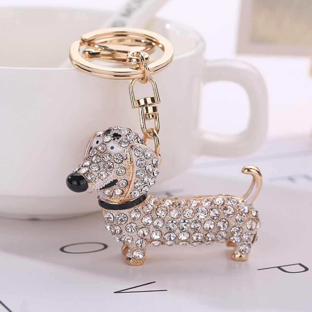 Jocestyle Rhinestone Dog Dachshund Keychain Bag Charm Pendant Keys Holder Keyring Jewelry Women Bag Handbag Key