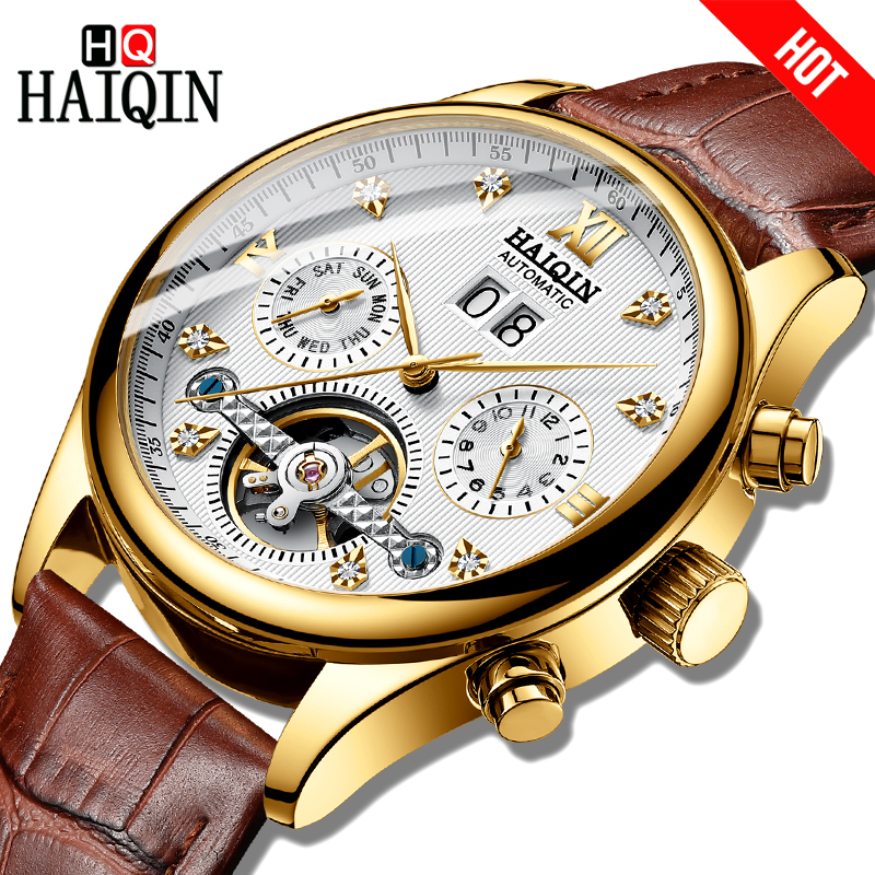 2019 HAIQIN Top Brand Luxury Mens Gold Watches Automatic mechanical Watches  for men Leather Week/Date Clock Men Wristwatch+Box2019 HAIQIN Top Brand Luxury Mens Gold Watches Automatic mechanical Watches  for men Leather Week/Date Clock Men Wristwatch+Box
