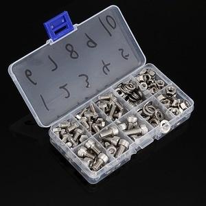 Image 1 - 170 teile/satz M5/M6 304 Edelstahl Bolt Sockel Kappe Schrauben + Hexagon + Scheiben + Hex Muttern & box