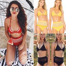 Brazilian women's bikini set Women's High Waisted Bikini Set Push Up Padded Swimsuit Bathing Suit Swimwear Yellow Red Black