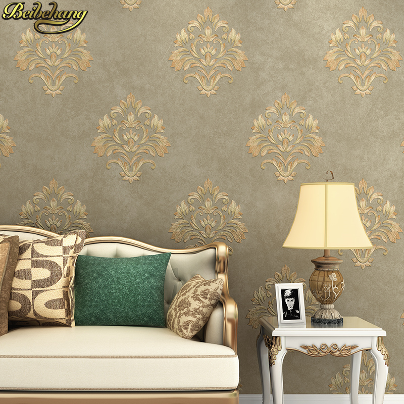 beibehang papel-de-parede Embossed Damascus Wallpaper For Bedroom Living Room Sofa TV Walls Decor Embossed 3D Wall Paper Rolls modern wallpaper for walls black white leaves pattern bedroom living room sofa tv home decor luxury european wall paper rolls