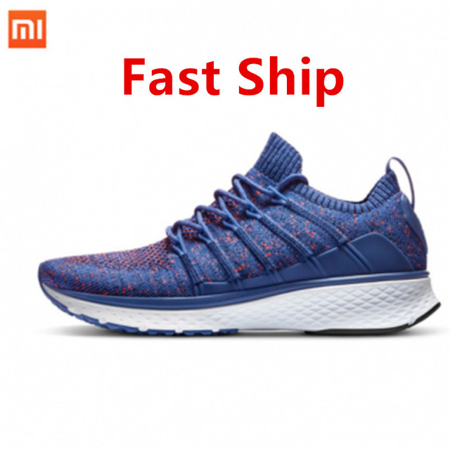 2018 New Xiaomi Mijia Sports Shoes Sneaker 2 Uni-Moulding Techinique New Fishbone Lock System Elastic Knitting Vamp Smart Sports