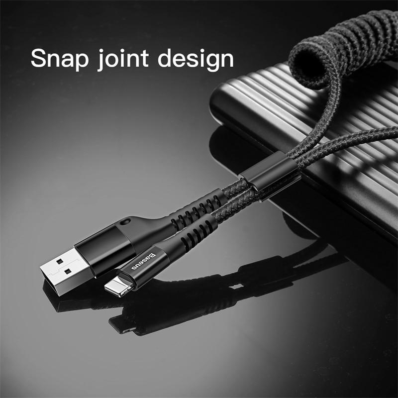 Baseus primavera cabo usb para iphone carregador de carregamento rápido cabo de dados usb para o estilo do carro para o fio de armazenamento para iphone x 8 7 6s