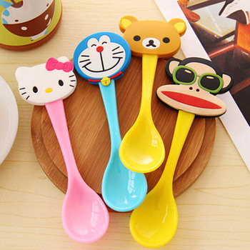 Lovely Cartoon Baby Spoon Kids Tableware Baby Feeding Tools Ice Cream/Coffee Spoon Multicolor 1 Piece