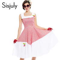 Sisjuly Vintage Dress 1950s Style Spring Red Patchwork Pin Up Party Dress Elegant Cherry Decoration Cute