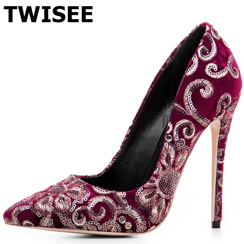 TWISEE Size 34-43 Appliques Women Shoes Pointed Toe Pumps Flock Dress Shoes High Heels 12cm Shoes Wedding shoes zapatos mujer newest flock blade heels shoes 2018 pointed toe slip on women platform pumps sexy metal heels wedding party dress shoes