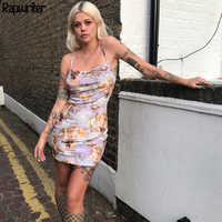 Rapwriter Casual Slim Angel Print Spaghetti Strap Dress Women 2018 Spring Basic Sleeveless Sexy Mini Sexy Dress Vestidos mujer