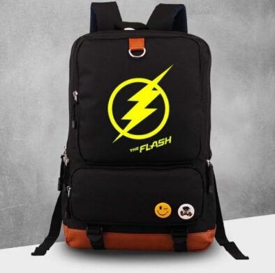 The Flash logo Justice League Backpack Black school laptop Bag New/wtag logo